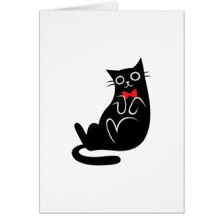 Lounging schwarze Katzen-Gruß-Karte (freier Raum) Karte