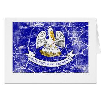Lousiana Staats-Flagge Vintag Karte