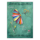 Love Daisy Floral Heart Butterfly Greeting Card Karte