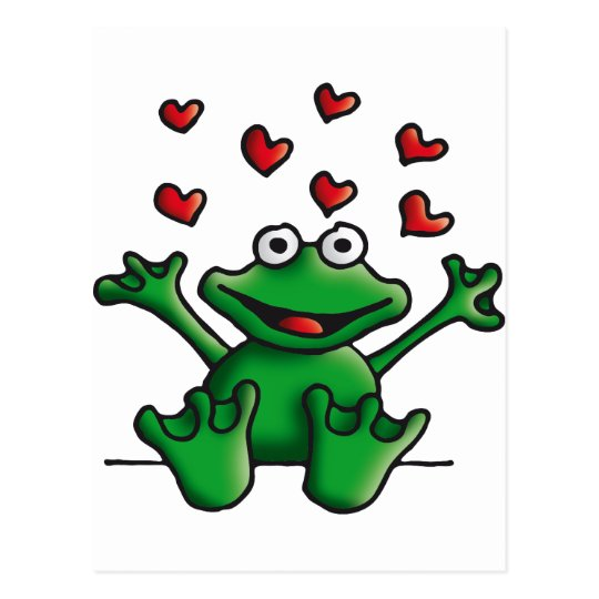 love heart frog postkarte