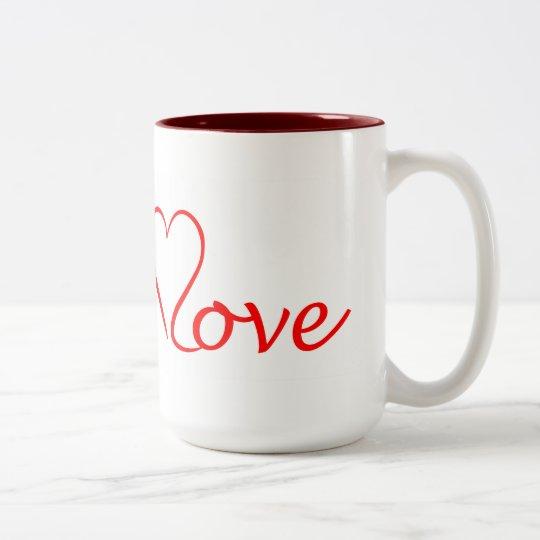 Love Herz auf weißem Hintergrund Zweifarbige Tasse