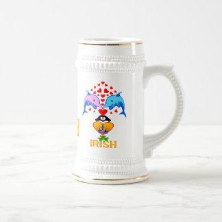♫♥Love Irisch-Niedliches Delphinc$paar-stein-Bier Bierglas