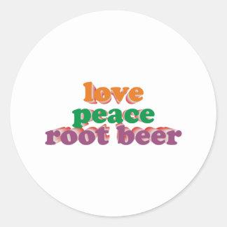 love peace root beer runder aufkleber