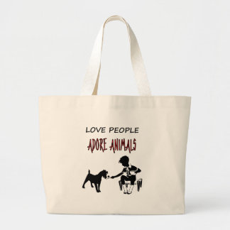 LOVE PEOPLE betet ANIMALS an Jumbo Stoffbeutel