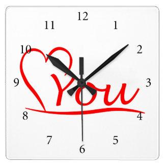 Love You, Mein Herz ist immer offen für dich Quadratische Wanduhr