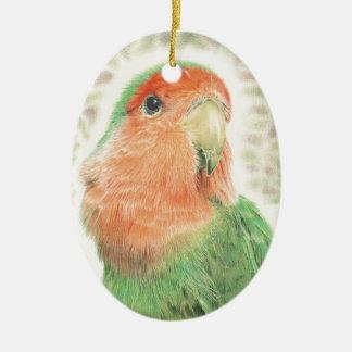 Lovebird-Pilaf Ovales Keramik Ornament