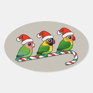 Lovebird-Zuckerstange Ovaler Aufkleber