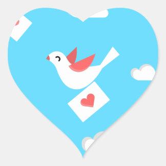 Lovebirdbote Herz-Aufkleber