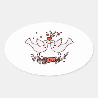 Lovebirds 2 ovaler aufkleber