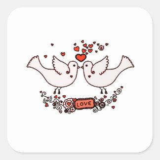 Lovebirds 2 quadratischer aufkleber