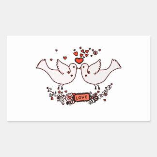 Lovebirds 2 rechteckiger aufkleber