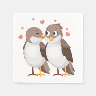 Lovebirds-Brown-Hochzeit, Brautparty, Verlobung Papierserviette