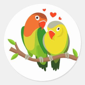 Lovebirds-Brown-Hochzeit, Brautparty, Verlobung Runder Aufkleber