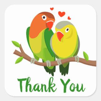 Lovebirds danken Ihnen Hochzeit, Brautparty Quadratischer Aufkleber