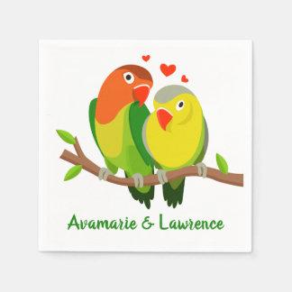Lovebirds-grüne Hochzeit, Brautparty, Verlobung Papierserviette