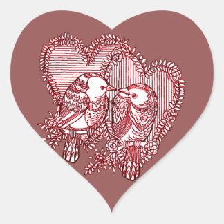 Lovebirds Herz-Aufkleber
