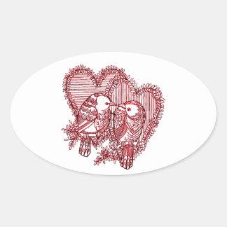 Lovebirds Ovaler Aufkleber