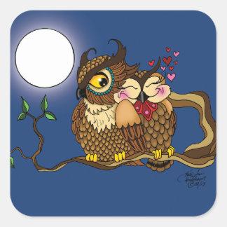 Lovebirds Quadratischer Aufkleber