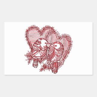 Lovebirds Rechteckiger Aufkleber