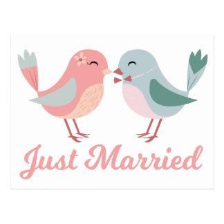 Lovebirds rosa u. Blau-gerade verheiratete Postkarte