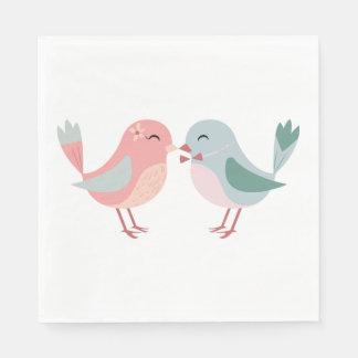 Lovebirds rosa u. blaue Hochzeit, Brautparty Papierserviette