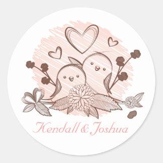 Lovebirds-Rosa und Wedding Brautparty Browns Runder Aufkleber