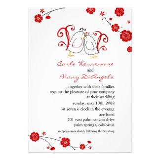Lovebirds und Kirschblüten die Einladungen