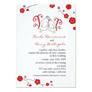 Lovebirds und Kirschblüten, die Einladungen