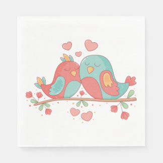 Lovebirds zacken, blaues Grün-Türkis-Hochzeit aus Papierserviette