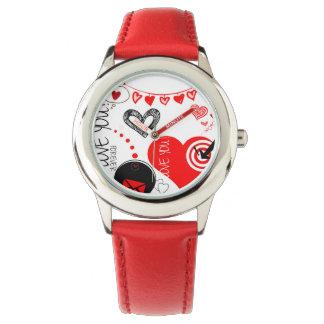 Lovito Edelstahl-Rot Armbanduhr