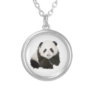 Low Poly Panda Versilberte Kette