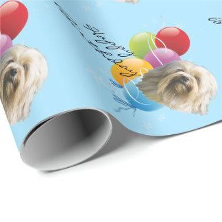 Lowchen, alles Gute zum Geburtstag w/balloons Geschenkpapier