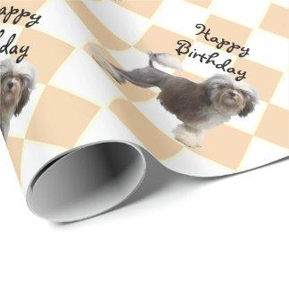 Lowchen auf Rauten-alles Gute zum Geburtstag Geschenkpapier