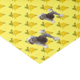 Lowchen und gelbe Rosen Seidenpapier