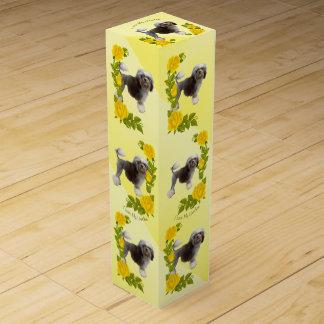 Lowchen und gelbe Rosen Wein-Geschenkverpackung