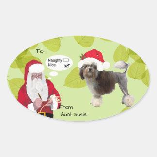 Lowchen w/Santa makin seine freche oder Nizza Ovaler Aufkleber