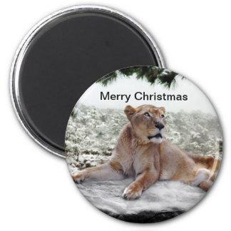 Löwe am Weihnachten Runder Magnet 5,7 Cm