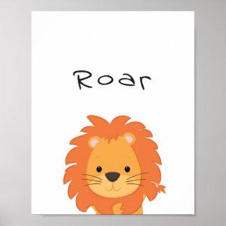 Löwe-Brüllen-Kinderzimmer-Plakat, TierKidsroom Poster