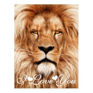 Löwe der König Foto Painting I Love Sie Postkarte
