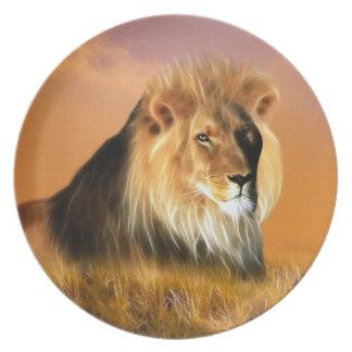 Löwe der Südafrika-Fraktalkunst Teller