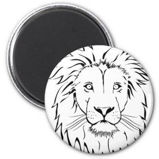 Löwe, der vektorentwurf zeichnet runder magnet 5,1 cm