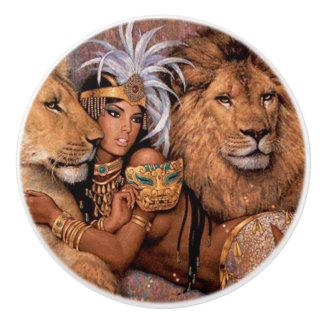 Löwe-Göttin-ägyptische Prinzessin Ceramic Pull Keramikknauf