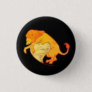 Löwe-Herz (orange) Runder Button 2,5 Cm