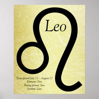 Löwe-Horoskop-Symbol-Gold und schwarzes Plakat