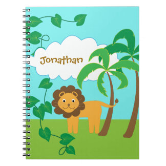 Löwe im Dschungel mit den Palmen personalisiert Notizblock