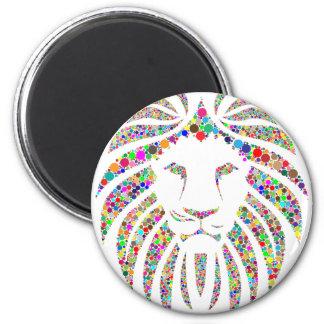 Löwe in den Farben Runder Magnet 5,7 Cm