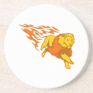 Löwe in den Flammen Getränkeuntersetzer