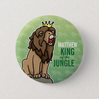 Löwe-König des Dschungels, addieren den Namen des Runder Button 5,7 Cm