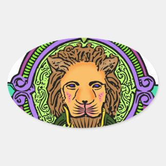 Löwe-Kunstexklusives Ovaler Aufkleber