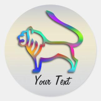 Löwe-Löwe-Tierkreis-Stern-Zeichen-Regenbogen-Farbe Runder Aufkleber